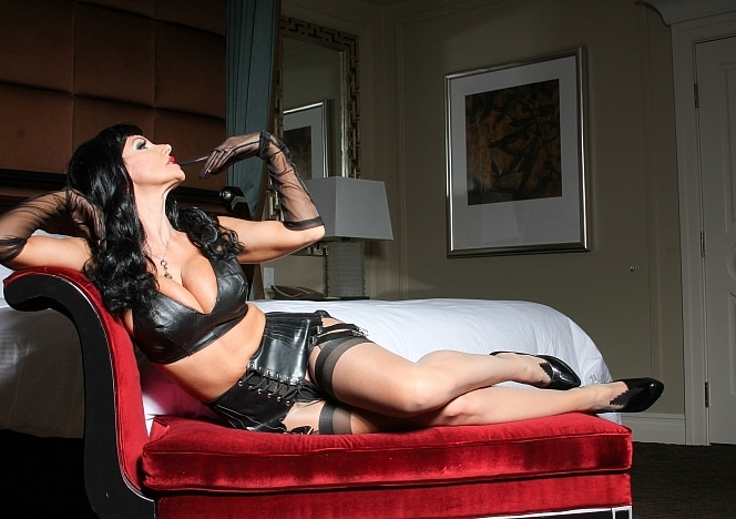 BrittanyAndrews/Black Leather Red Chaise